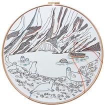 Filicudi  : carta; disegno a china; ricamo con filo di seta; telaio; 2019; collezione privata.