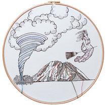 Alicudi : carta; disegno a china; ricamo con filo di seta; telaio; 2019; collezione privata.