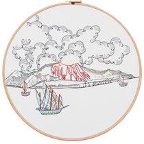 Vulcano : 30 cm; carta; disegno a china; ricamo con filo di seta; telaio; 2019;