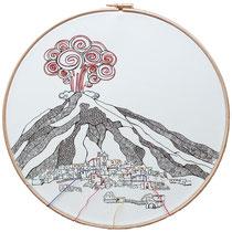 Stromboli : carta; disegno a china; ricamo con filo di seta; telaio; 2019; collezione privata.