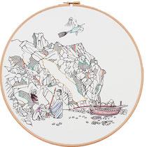 Alicudi : 30 cm; carta; disegno a china; ricamo con filo di seta; telaio; 2019;