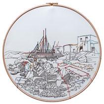 Salina : carta; disegno a china; ricamo con filo di seta; telaio; 2019; collezione privata.