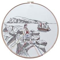 Panarea : carta; disegno a china; ricamo con filo di seta; telaio; 2019; collezione privata.