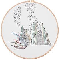 Strombolicchio : 30 cm; carta; disegno a china; ricamo con filo di seta; telaio; 2019;