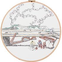 Salina : 30 cm; carta; disegno a china; ricamo con filo di seta; telaio; 2019;