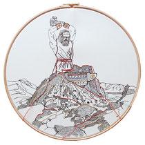 Vulcano : carta; disegno a china; ricamo con filo di seta; telaio; 2019; collezione privata.