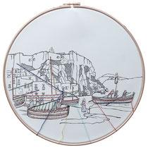 Lipari : carta; disegno a china; ricamo con filo di seta; telaio; 2019; collezione privata.