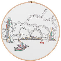 Faraglioni : 30 cm; carta; disegno a china; ricamo con filo di seta; telaio; 2019;