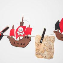 Schiffsgirlande - selbst gemachte Deko für Piratenparty und Kindergeburtstag