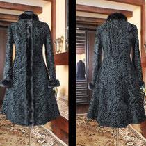 Шубка-платье из Свакары с норкой Скан-блек