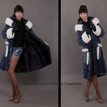 Зимнее пальто из итальянской джинсы. Внутри норка. Манжеты и капюшон-норка.