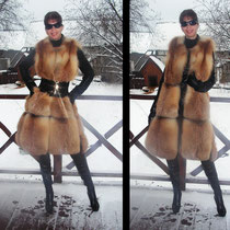 Удлиненный жилетик из сибирской лисы..... Надет на кожаную курточку.. Можно носить всю зиму....