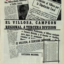 Recortes de prensa sobre el ascenso del Villosa a Tercera en la temporada 1970-71.