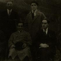 Junta Directiva del Llodio Club. Arriba: José María Urquijo y Balbino Molinuevo. Abajo: Santos Urquijo, Víctor Acha, Daniel Molinuevo y Rogelio Tipular.