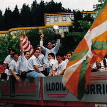 Celebración del ascenso a Tercera, en la temporada 1992-93.
