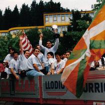 Celebración posterior del ascenso a Preferente, en la temporada 1992-93.