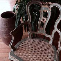 cannage à l'ancienne sur fauteuil vénitien époque XVIIIème
