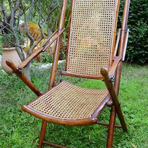 cannage artisanal sur chaise longue style colonial fin XIXème