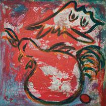 Hahn und Henne 2012 Acryl auf Leinwand 60 x 60