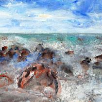 Steine im Meer 2005 Aquarell 40 X 30