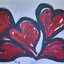 Wenn die Herzen Trauer tragen 2016 Acryl auf Leinwand 90 x 70