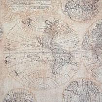 Mapa mundi, ширина 280 см; состав: 43% хлопок, 57% полиэстер; плотность 240 г/м2; раппорт 64х140 см; направление рисунка по ширине