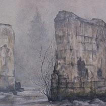 Bout du lac St Point -  Huile sur carton marouflé sur médium ( détail ) - 79,5 x 119,5 cm - 2016