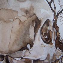 Encre, brou de noix et graphite sur papier canson 42 X 29,7 cm (détail)