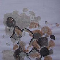 La cueillette 15 - Huile et brou de noix sur papier - 2013 - 42 x 21,7 cm - Didier Goguilly