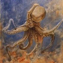 Série animaux - Pieuvre - huile sur carton 120 x 80 cm - 17.08.2008