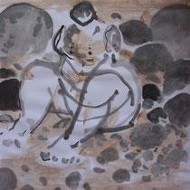 La cueillette 17 - Huile et brou de noix sur papier - 2013 - 42 x 21,7 cm - Didier Goguilly