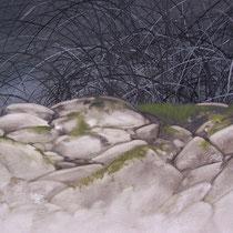 intérieur-extérieur (((()))) Invisible-Visible (travail en cours, détail) huile sur toile 195 x 130 cm