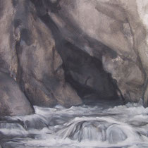 Mouthe la source du Doubs 2012 huile sur papier 75 x 110 (détail)
