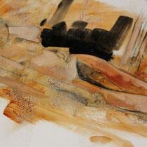 Sommeil 5 - huile sur carton 40 x 50 cm