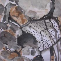 La cueillette 14 - Huile et brou de noix sur papier - 2013 - 42 x 21,7 cm (détail) - Didier Goguilly