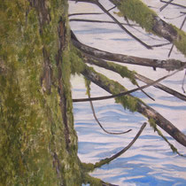 Le Foureperret - Huile sur carton marouflé sur médium ( détail ) - 80 x 80 cm - 2016