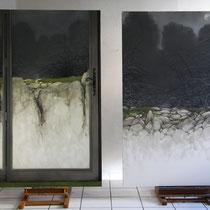 intérieur-extérieur (((()))) Invisible-Visible (travail en cours) huile sur toile 195 x 130 cm