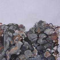 La cueillette 5 - Huile et brou de noix sur papier - 2013 - 42 x 21,7 cm - Didier Goguilly