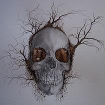 Encre, brou de noix et graphite sur papier canson 42 X 29,7 cm