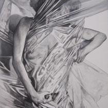intérieur-extérieur (((()))) Invisible-Visible (travail en cours) acrylique et graphite sur toile 116 x 89 cm