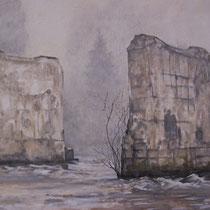 Nouvelle ère (Bout du lac St Point) - huile sur carton marouflé sur médium - 79,5 x 119,5 cm - 2016 (détail)