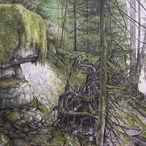 Le Foureperret - Huile sur carton marouflé sur médium - 79,5 x 119,5 cm- 2016