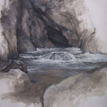 Mouthe la source du Doubs 2012 huile sur papier 75 x 110