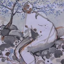 La cueillette 12 - Huile et brou de noix sur papier - 2013 - 42 x 21,7 cm - Didier Goguilly