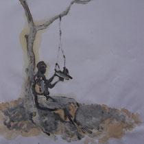 La cueillette 3 - Huile et brou de noix sur papier - 2013 - 42 x 21,7 cm - Didier Goguilly