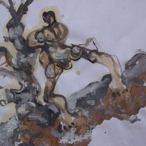 La cueillette 6 - Huile et brou de noix sur papier - 2013 - 42 x 21,7 cm (détail) - Didier Goguilly
