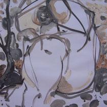 La cueillette 10 - Huile et brou de noix sur papier - 2013 - 42 x 21,7 cm - Didier Goguilly