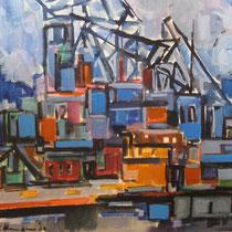 Haven Antwerpen (verkocht, in bezit van Annemarie ten Brink) 45 x 38 1962 Aquarel (verkocht)