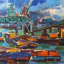 Haven Antwerpen (verkocht, in bezit van Annemarie ten Brink) 45 x 38 1962 Aquarel