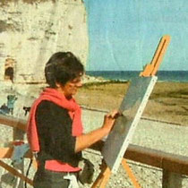 Martine réalisant le 15 août 2005 une peinture au couteau